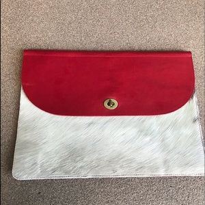 Genuine Red Leather Cowhide Clutch